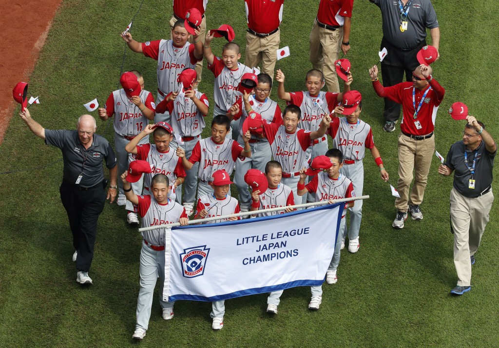 The Japan Region Champion Little League team from Kawaguchi participates in the opening ceremony of the 2018 Little League World Series baseball tourn...
