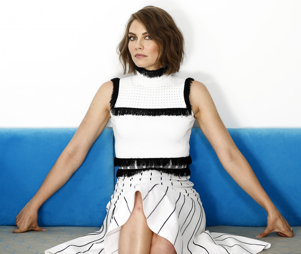 """In this July 26, 2018 photo, actress Lauren Cohan poses for a portrait in New York to promote her film """"Mile 22."""" (Photo by Brian Ach/Invision/AP)"""