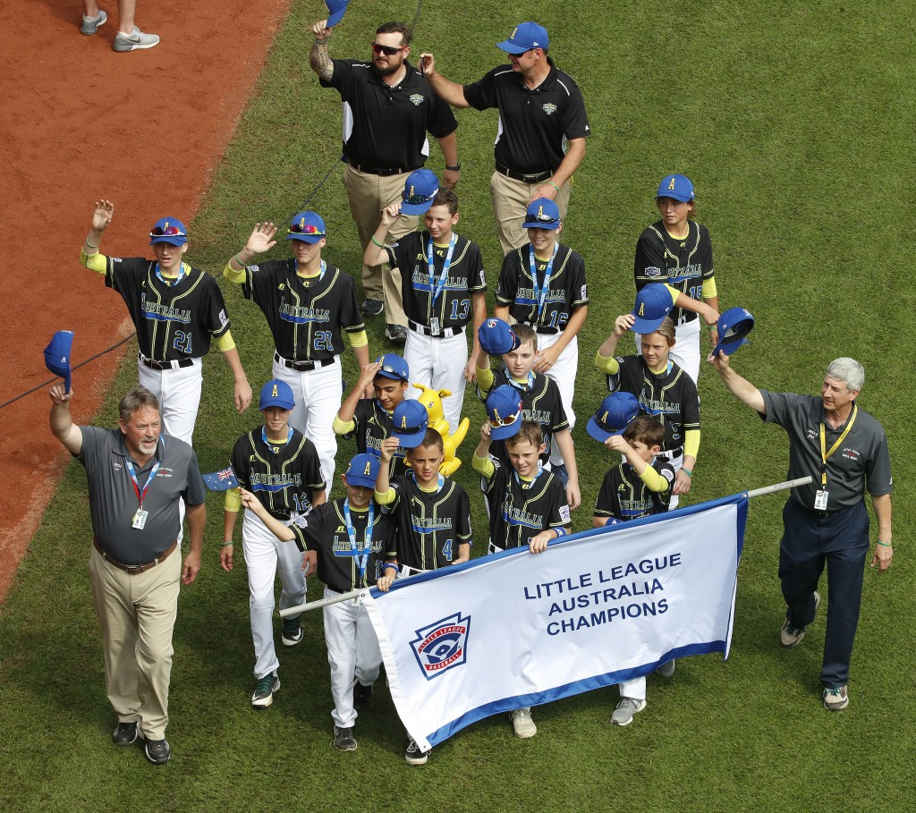 The Australia Region Champion Little League team from Gold Coast, Queensland, participates in the opening ceremony of the 2018 Little League World Ser...