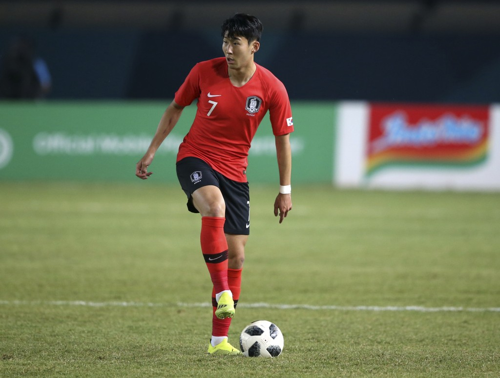 South Korea's Son Heung Min prepares to pass the ball during their men's soccer match between South Korea and Malaysia at the 18th Asian Games at Si J...