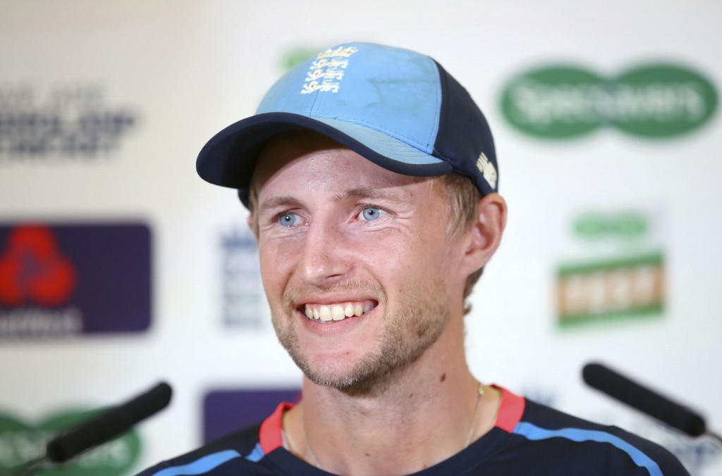 England's Joe Root smiles during a press conference at Trent Bridge, Nottingham, England, Friday Aug. 17, 2018, ahead of the third Test Match between ...