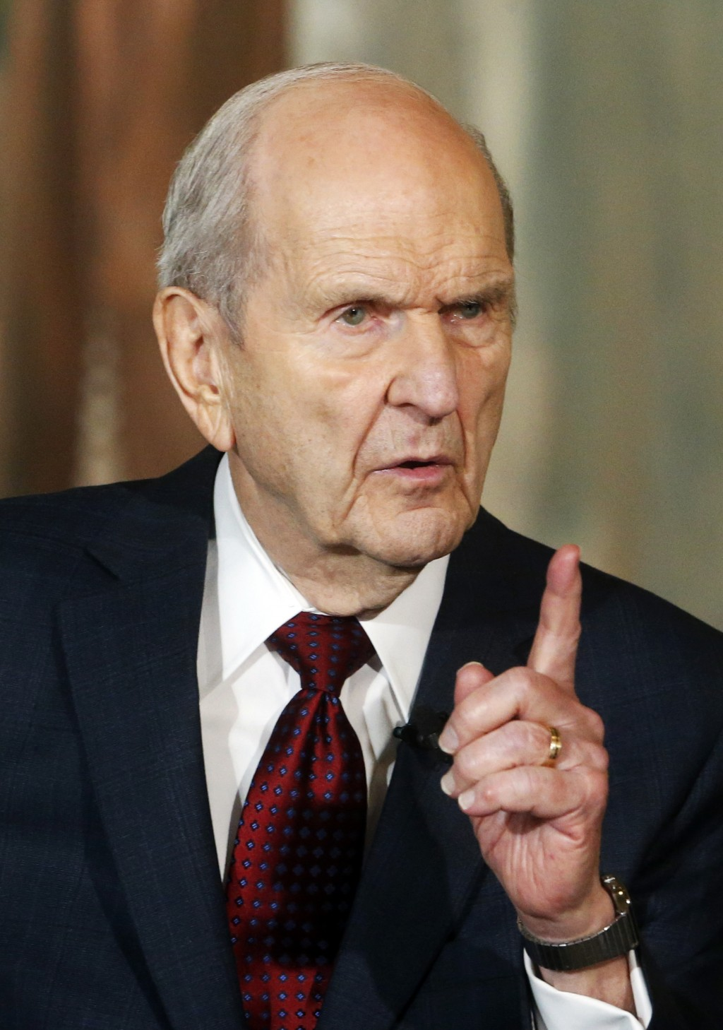 FILE - This Jan. 16, 2018, file photo, shows President Russell M. Nelson speaking at a news conference, in Salt Lake City. The president of the Mormon...