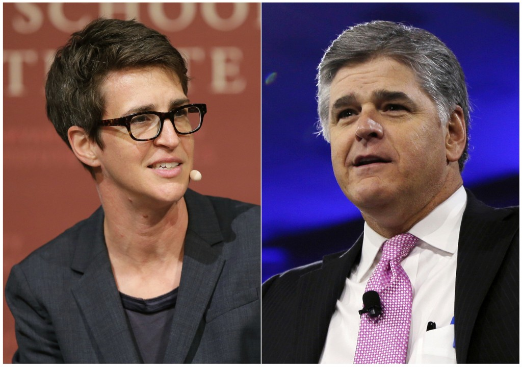 """This combination photo shows MSNBC television anchor Rachel Maddow, host of """"The Rachel Maddow Show,"""" moderating a panel at Harvard University, in Cam..."""