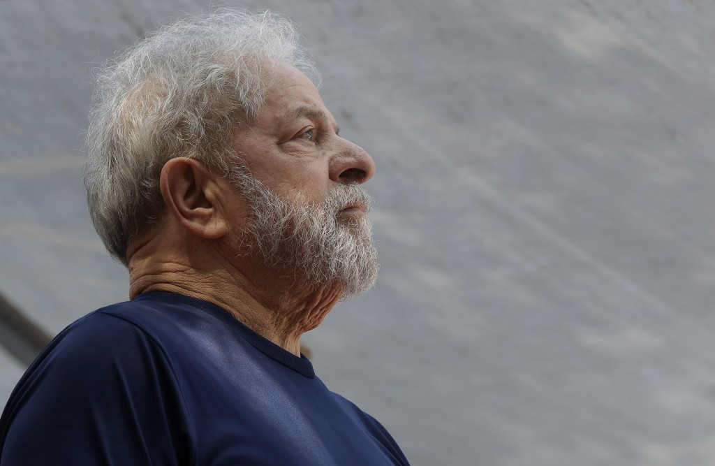 FILE - In this April 7, 2018 file photo, former Brazilian President Luiz Inacio Lula da Silva looks on before speaking to supporters outside the Metal...