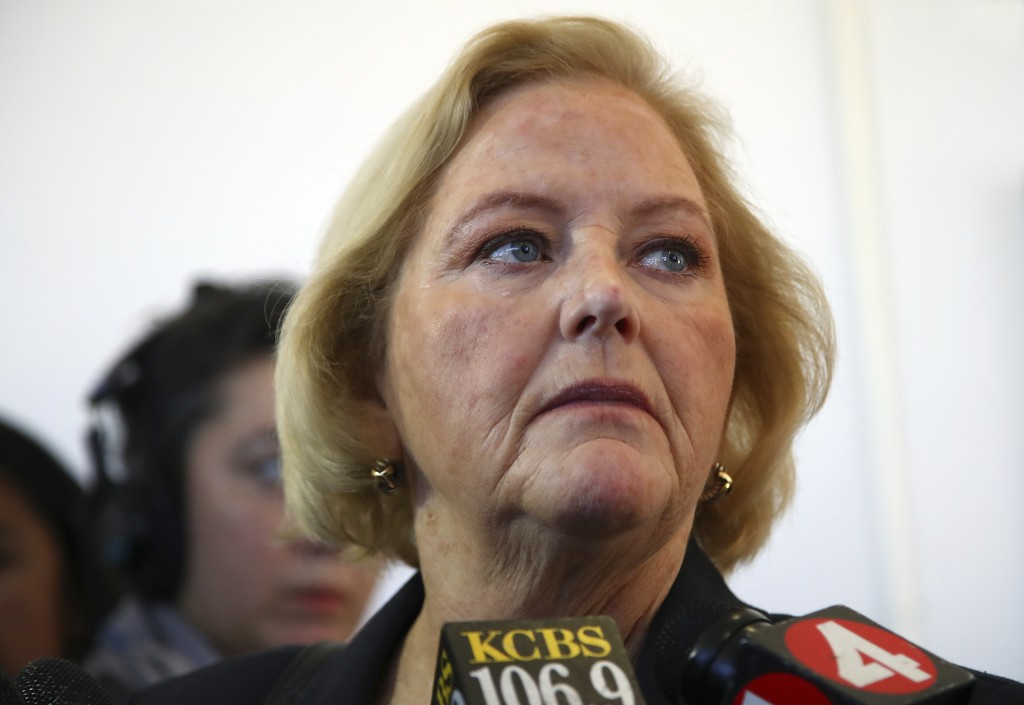 FILE - In this July 25, 2018 file photo, Alameda County District Attorney Nancy O'Malley speaks to reporters outside a courtroom in Oakland, Calif. O'...
