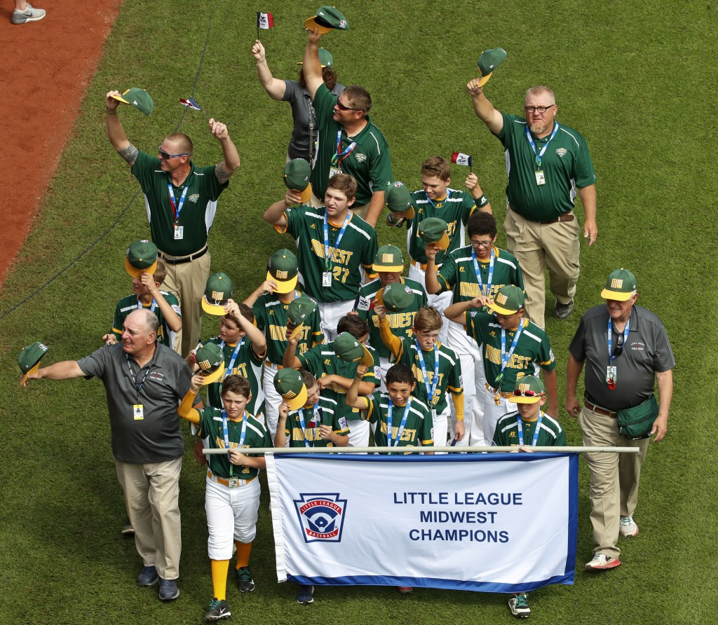 The Midwest Region Champion Little League team from Des Moines, Iowa, participates in the opening ceremony of the 2018 Little League World Series base...