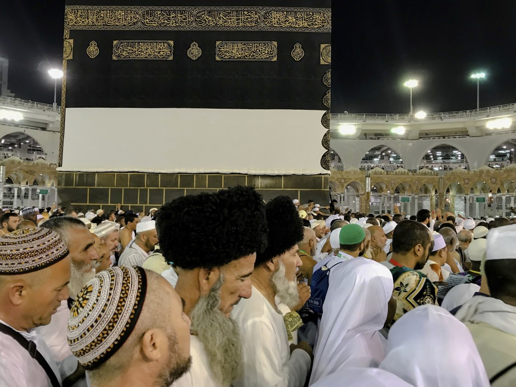 Muslim pilgrims circle around the Kaaba, the cubic building at the Grand Mosque, ahead of the annual Hajj pilgrimage, in the Muslim holy city of Mecca...