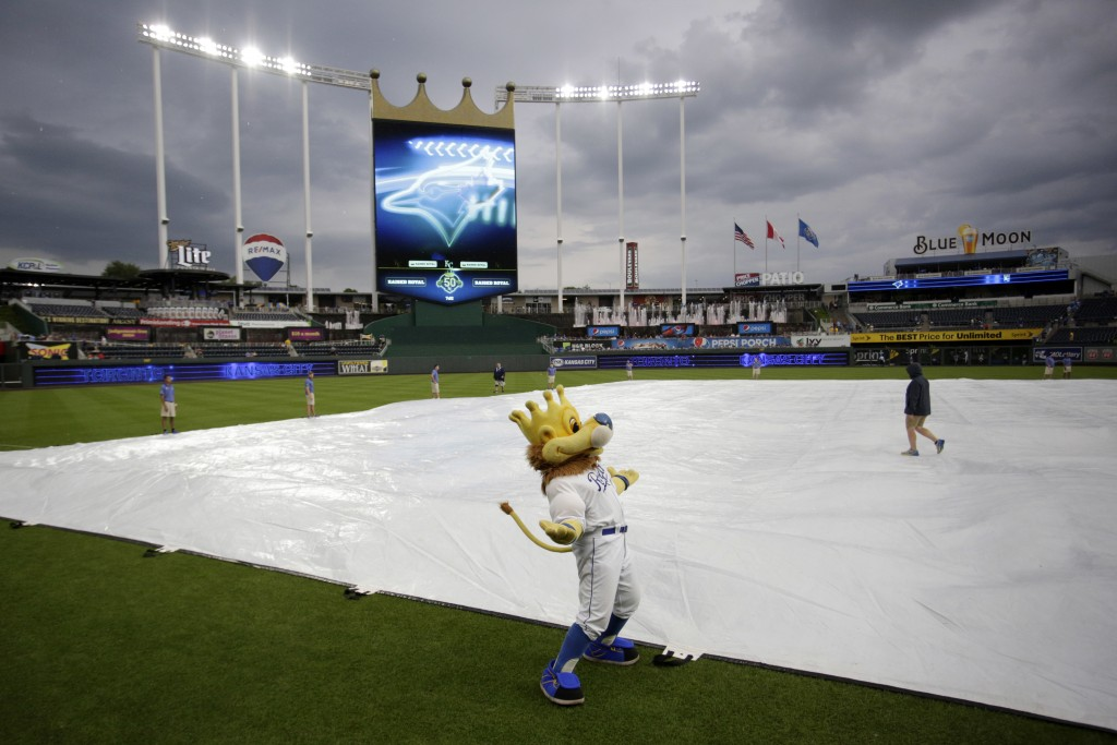 Kansas City Royals mascot Sluggerrr stands on the field as the grounds crew covers the infield with a tarp as a storm gathers near Kauffman Stadium be...