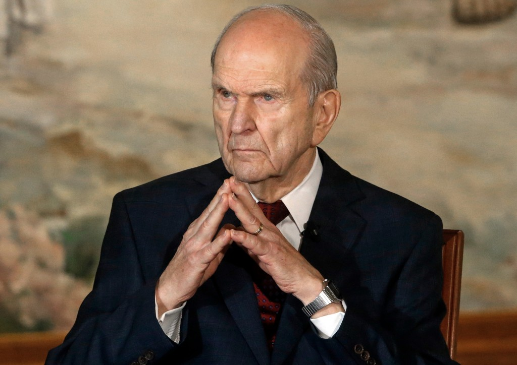 FILE - In this Jan. 16, 2018, file photo, President Russell M. Nelson looks on following a news conference, in Salt Lake City. The president of the Mo...