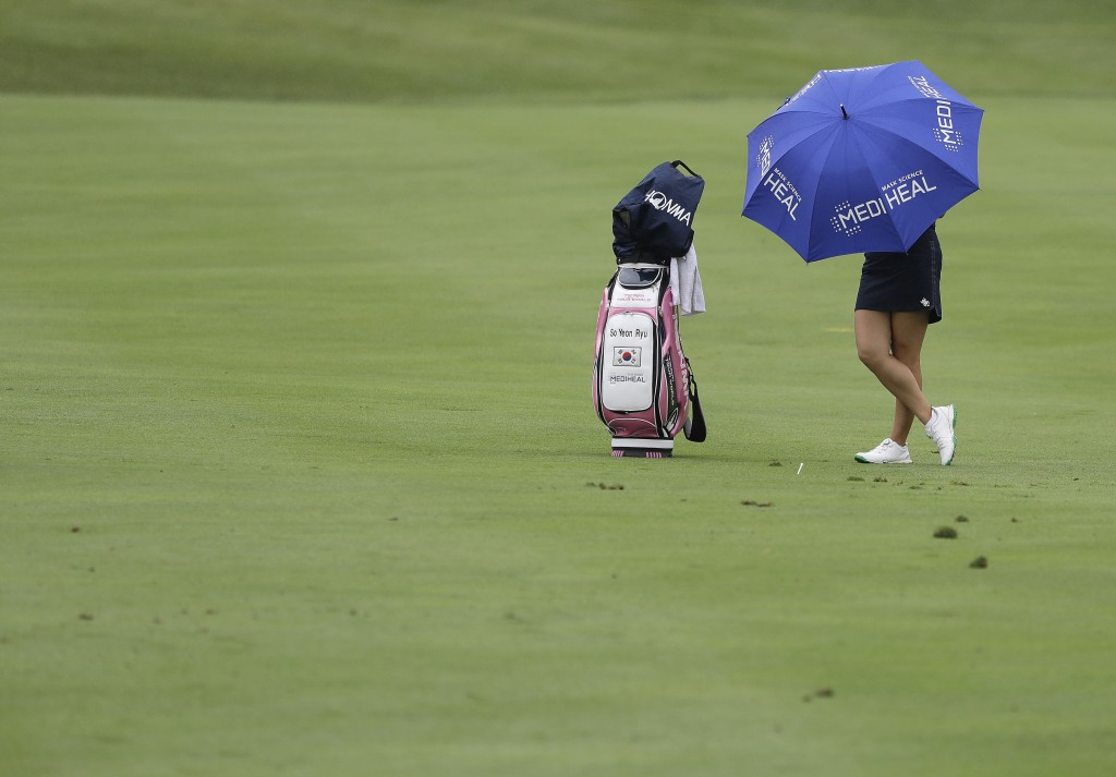 So Yeon Ryu, of South Korea, waits to hit from the 13th fairway during the first round of the Indy Women in Tech Championship golf tournament, Thursda...
