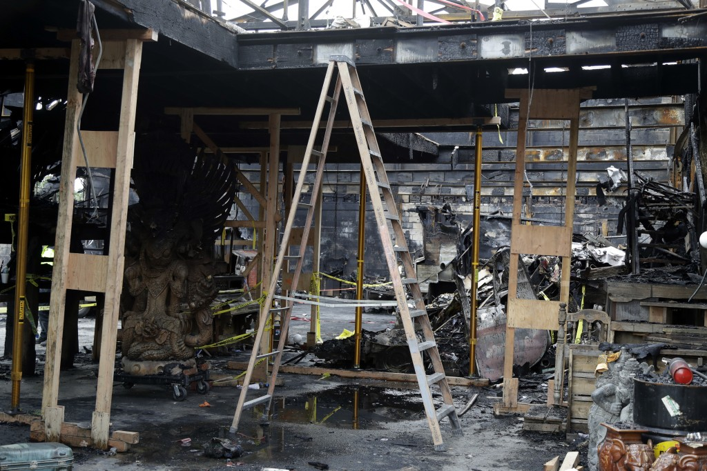 FILE - This Dec. 2, 2016 file photo shows the inside of the charred warehouse called the Ghost Ship in Oakland, Calif. A Northern California district ...
