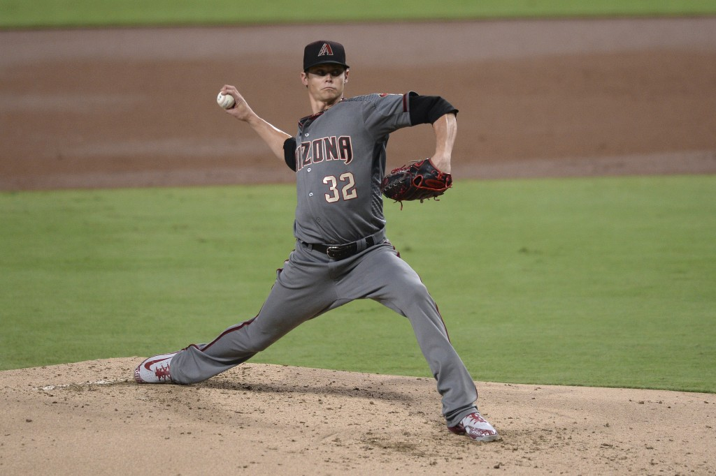 Arizona Diamondbacks starting pitcher Clay Buchholz works against a San Diego Padres batter during the first inning of a baseball game Thursday, Aug. ...