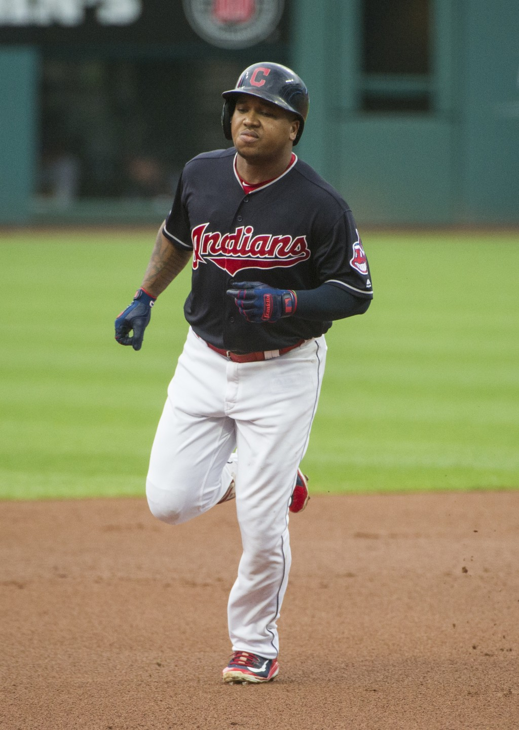 Cleveland Indians' Jose Ramirez rounds the bases after hitting a two-run home run off Baltimore Orioles starting pitcher David Hess during the first i...