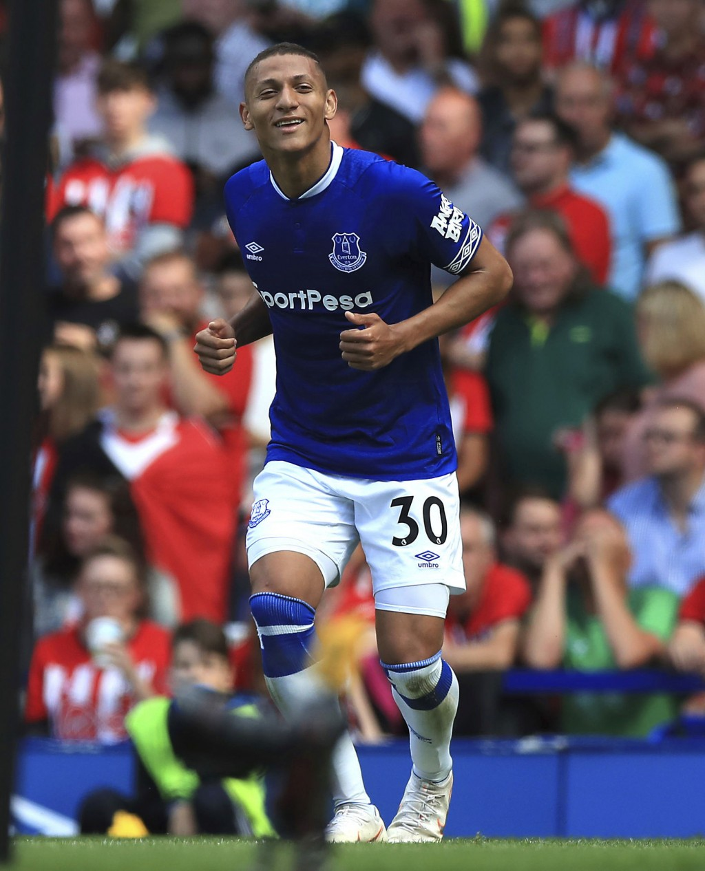 Everton's Richarlison celebrates scoring his side's second goal of the game against Southampton during their English Premier League soccer match at Go...