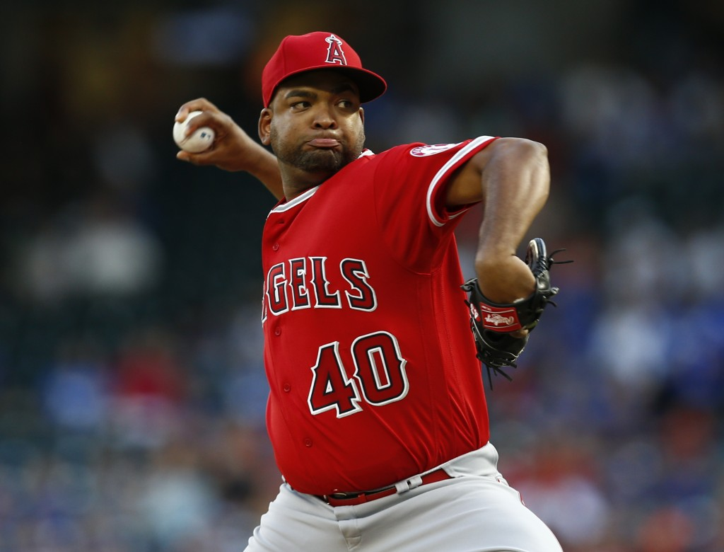 Los Angeles Angels starting pitcher Odrisamer Despaigne delivers to a Texas Rangers batter during the first inning of a baseball game, Friday, Aug. 17...