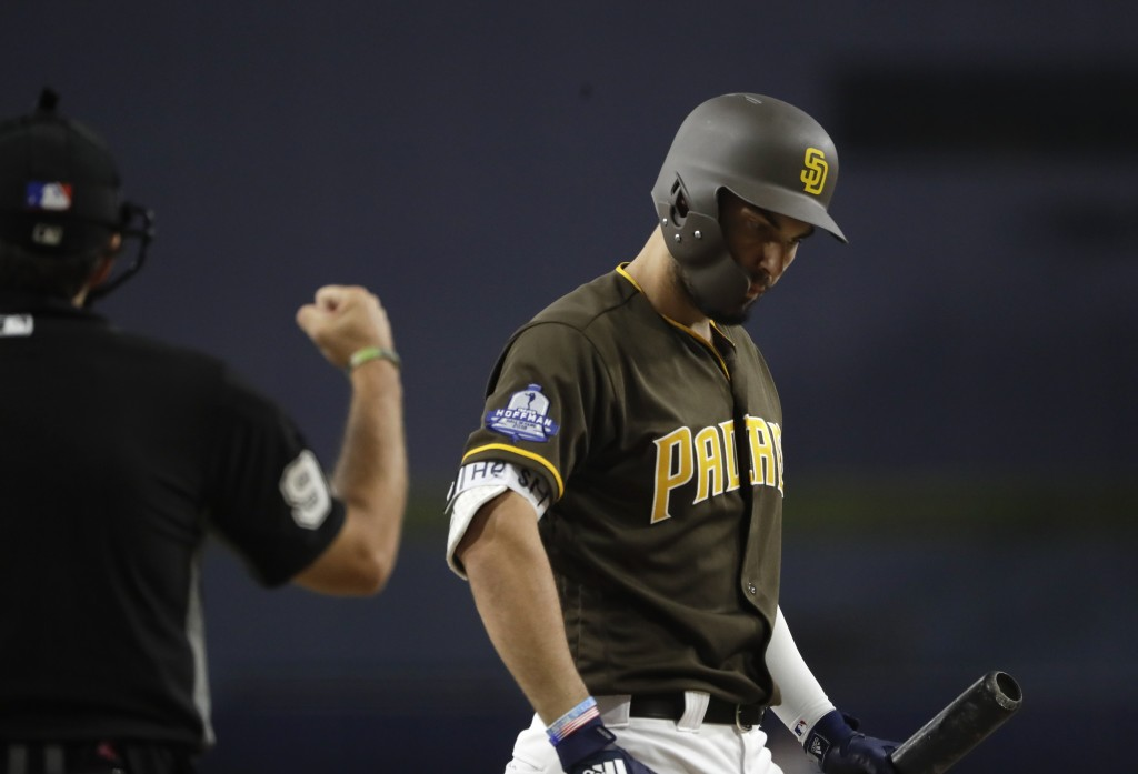 The San Diego Padres' Eric Hosmer, right, reacts as umpire James Hoye calls a strike during the first inning of the team's baseball game against the A...