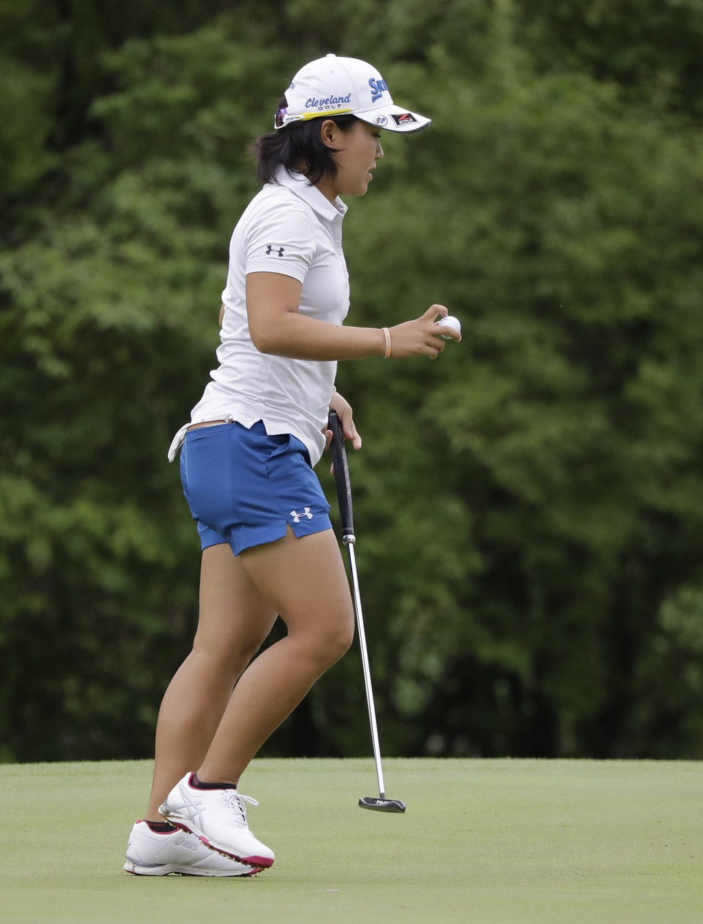 Nasa Hatoka, of Japan, reacts after a birdie on the sixth hole during the second round of the Indy Women in Tech Championship golf tournament, Friday,...