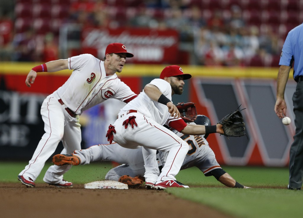 San Francisco Giants' Joe Panik, rear, is safe at second with a steal as Cincinnati Reds second baseman Scooter Gennett (3) and shortstop Jose Peraza ...