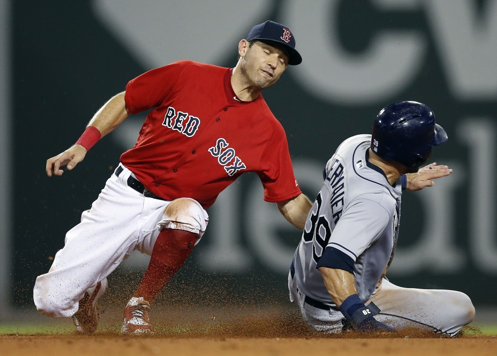 Boston Red Sox's Ian Kinsler, left, catches Tampa Bay Rays' Kevin Kiermaier (39) attempting to steal second base during the seventh inning of a baseba...