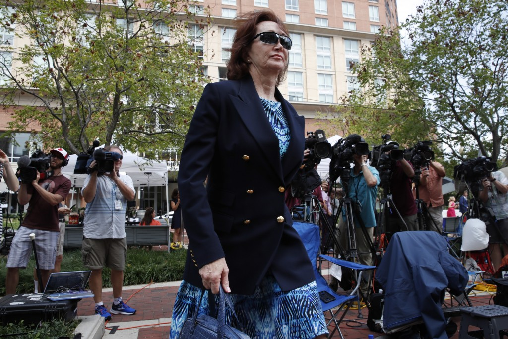 Kathleen Manafort, walks into federal court after the court received a note from the jury during the second day of jury deliberations in the trial of ...