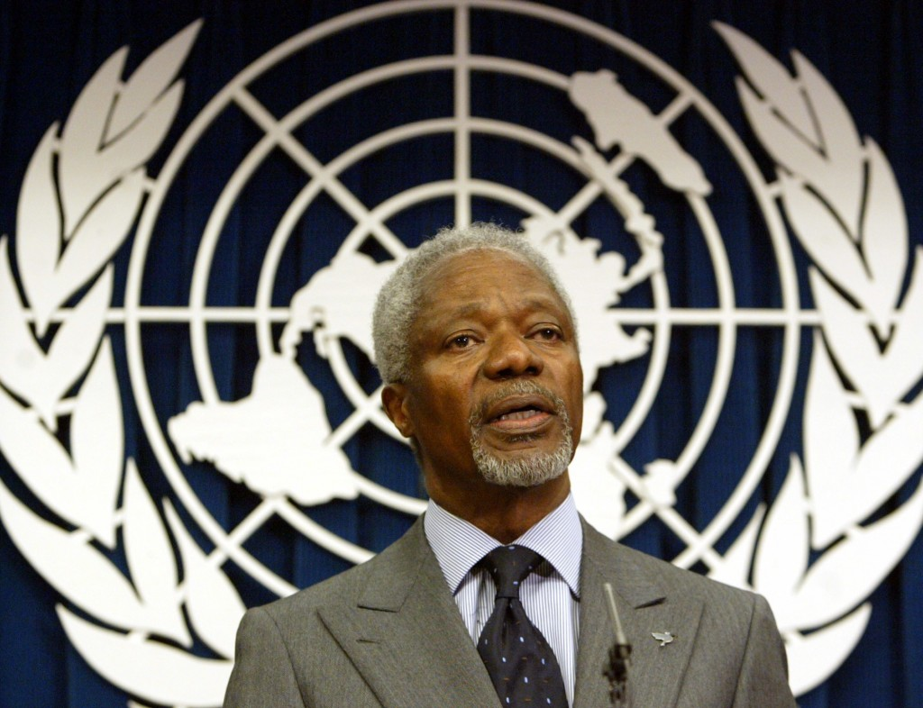 FILE - In this Tuesday March 29, 2005 file photo United Nations Secretary General Kofi Annan addresses a news conference at the United Nations. Annan,...
