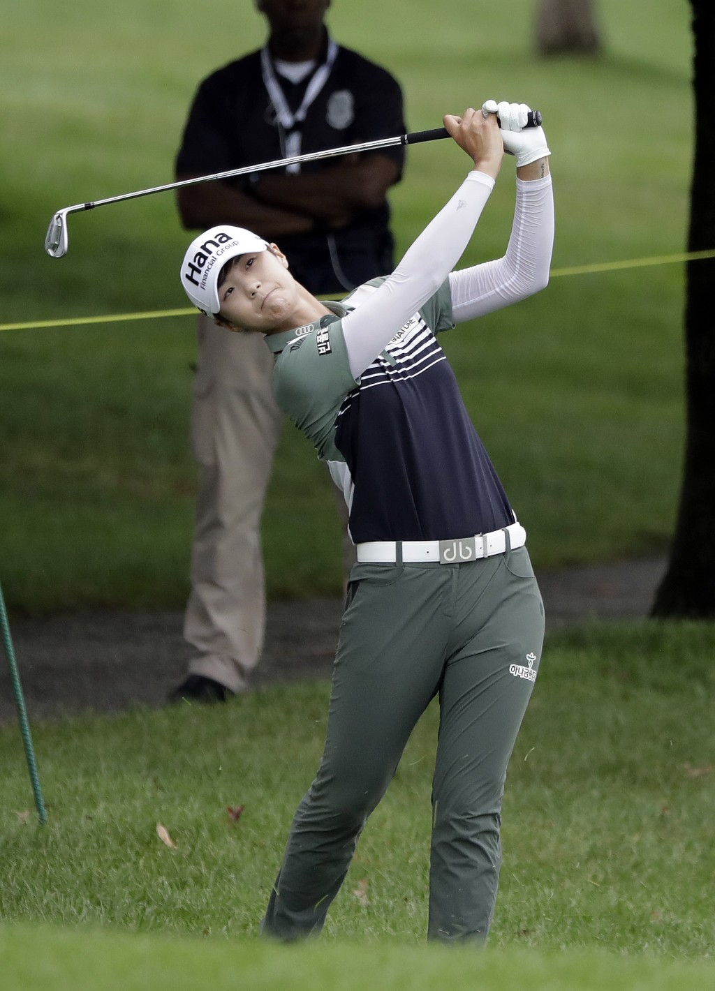 Sung Hyun Park, of South Korea, hits to the sixth green during the second round of the Indy Women in Tech Championship golf tournament, Friday, Aug. 1...