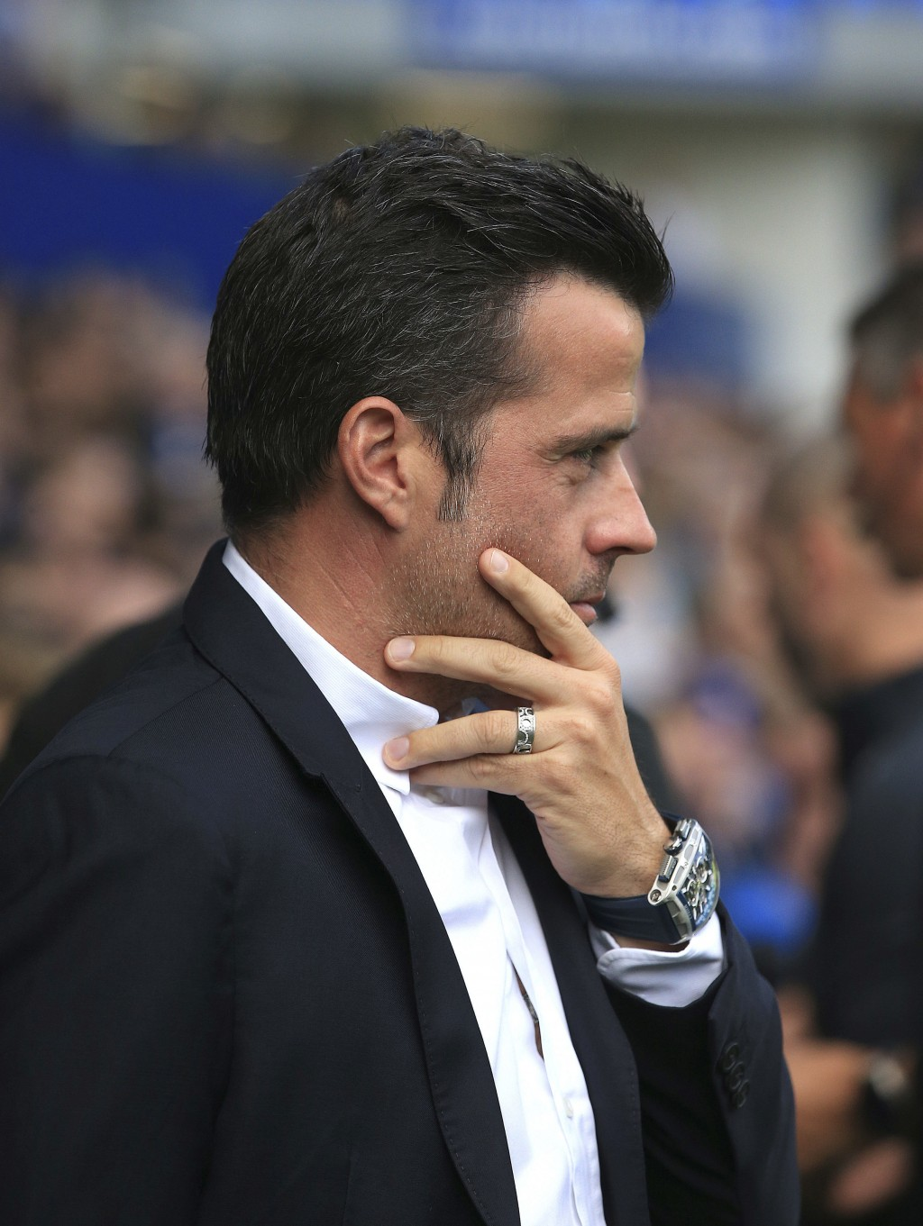 Everton manager Marco Silva reacts during the match against Southampton during their English Premier League soccer match at Goodison Park in Liverpool...