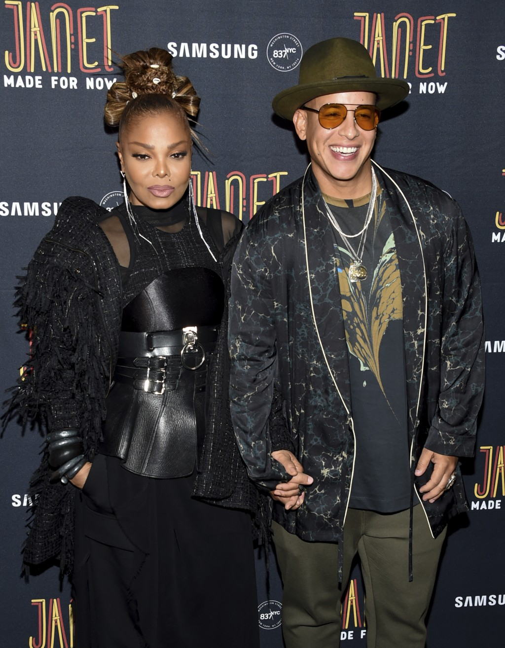 "Singers Janet Jackson, left, and Daddy Yankee attend their ""Made For Now"" single release party at Samsung on Friday, Aug. 17, 2018, in New York. (Phot..."
