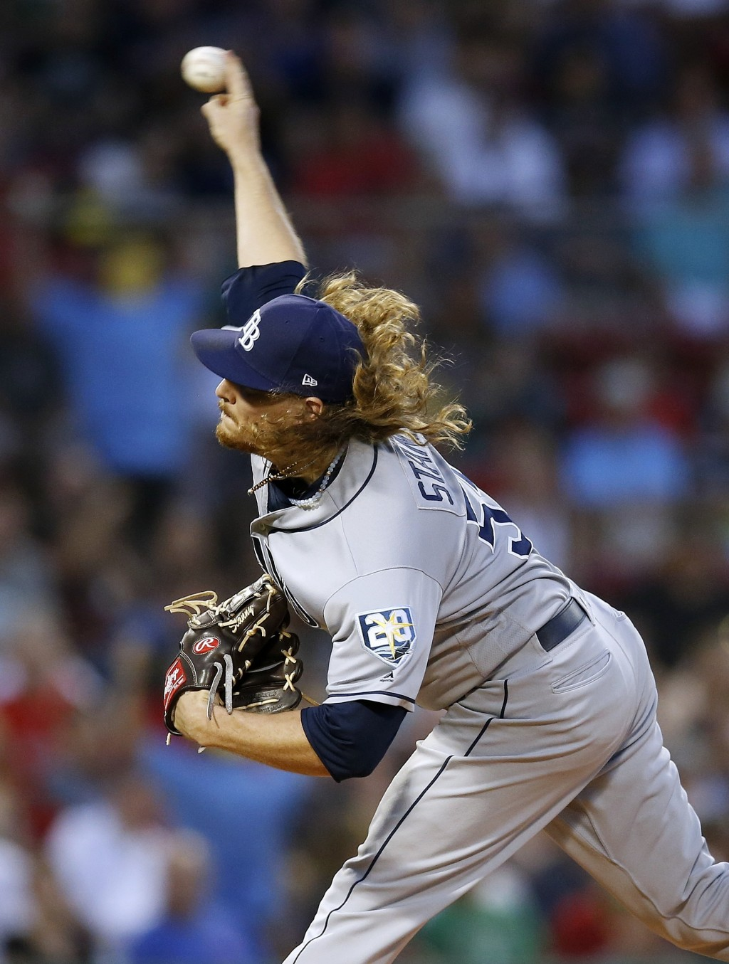 Tampa Bay Rays' Ryne Stanek pitches during the first inning of a baseball game against the Boston Red Sox in Boston, Friday, Aug. 17, 2018. (AP Photo/...