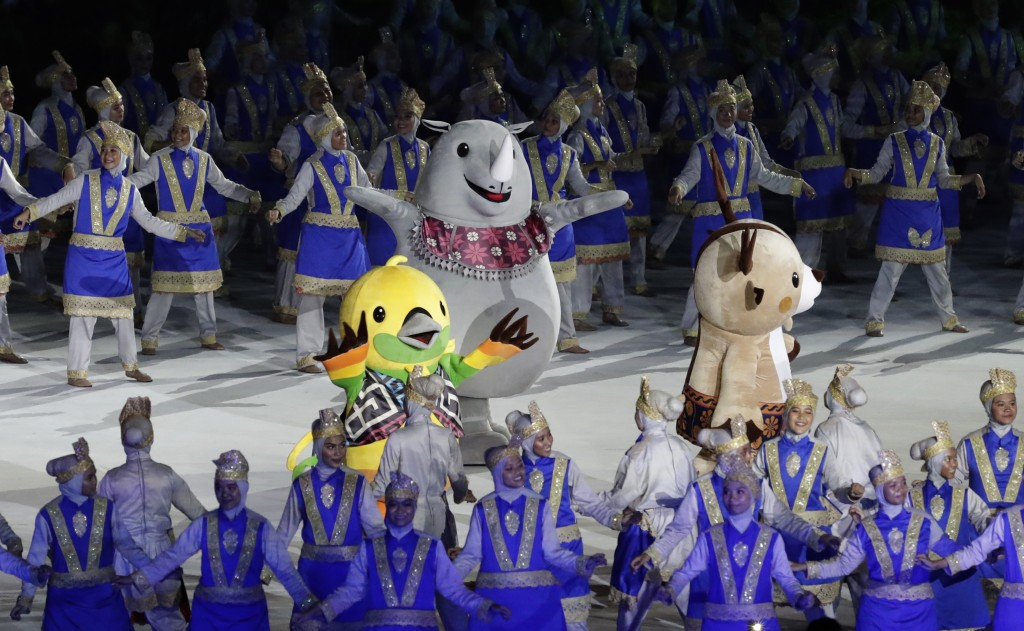 The official games mascots during the opening ceremony for the 18th Asian Games in the Gelora Bung Karno Stadium, Jakarta, Indonesia, Saturday, Aug. 1...