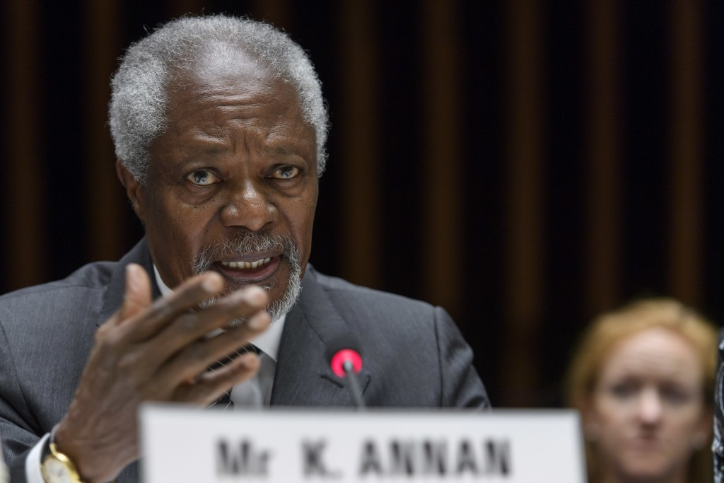 FILE - In this Wednesday, April 19, 2017 file photo Kofi Annan, former United Nations Secretary General  speaks during the Global partners meeting on ...