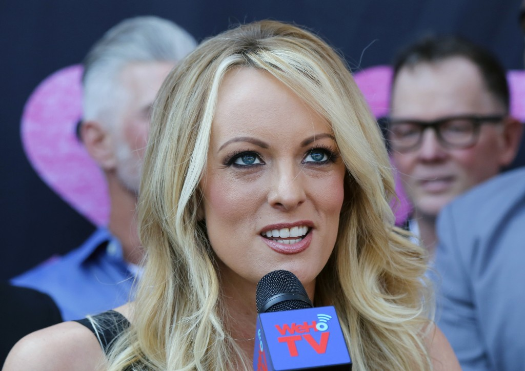 FILE - In this file photo dated Wednesday, May 23, 2018, Stormy Daniels speaks during a ceremony for her receiving a City Proclamation and Key to the ...