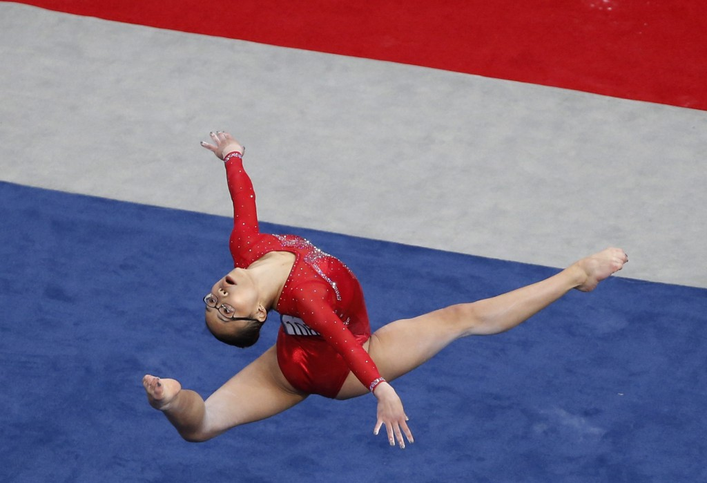 Morgan Hurd competes on the floor exercise at the U.S. Gymnastics Championships, Friday, Aug. 17, 2018, in Boston. (AP Photo/Elise Amendola)