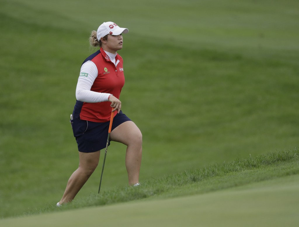 Ariya Jutanugarn, of Thailand, watches walks to the ninth green during the second round of the Indy Women in Tech Championship golf tournament, Friday...