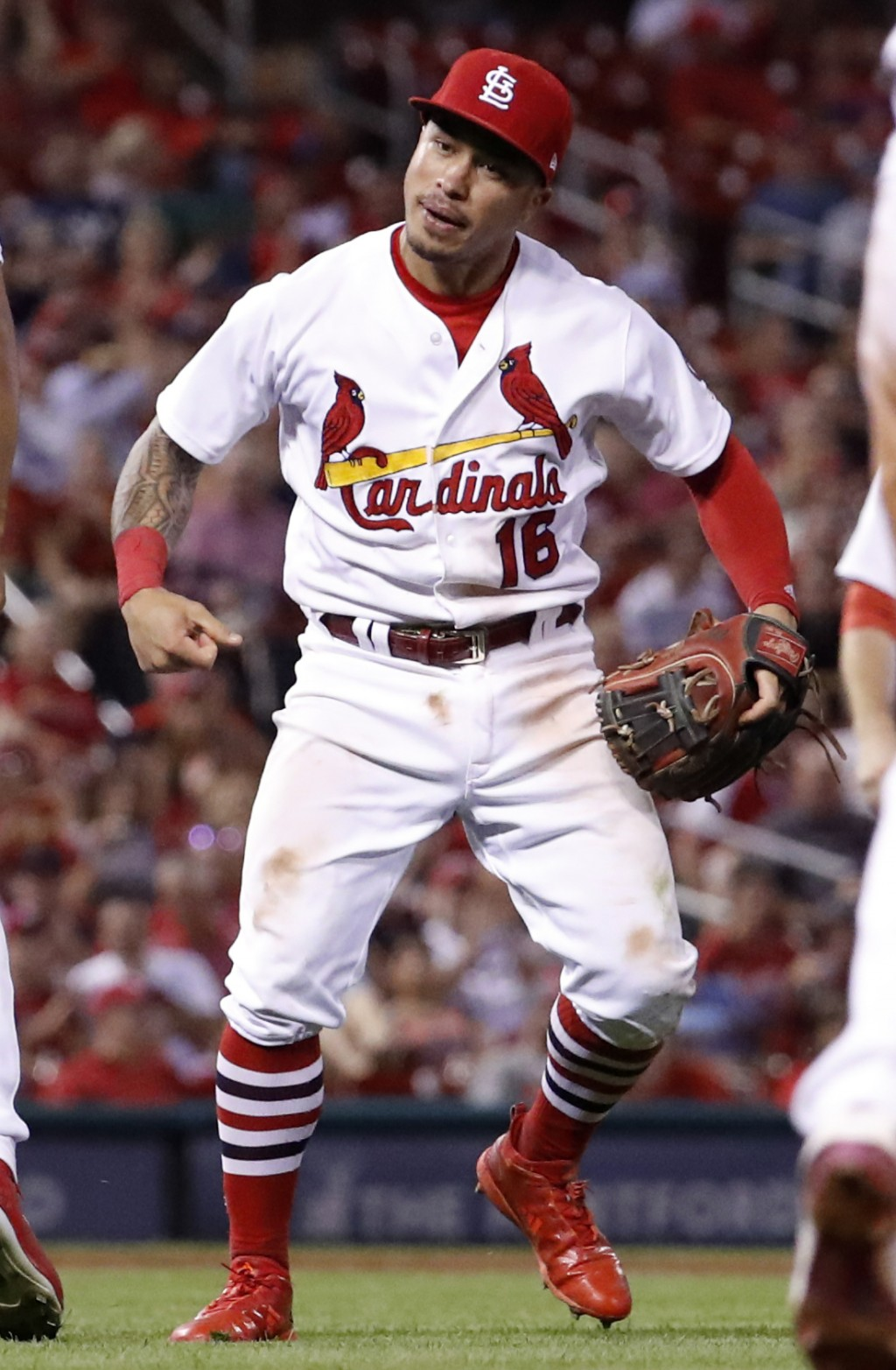 St. Louis Cardinals second baseman Kolten Wong celebrates after throwing Milwaukee Brewers' Keon Broxton out at first during the eighth inning of a ba...