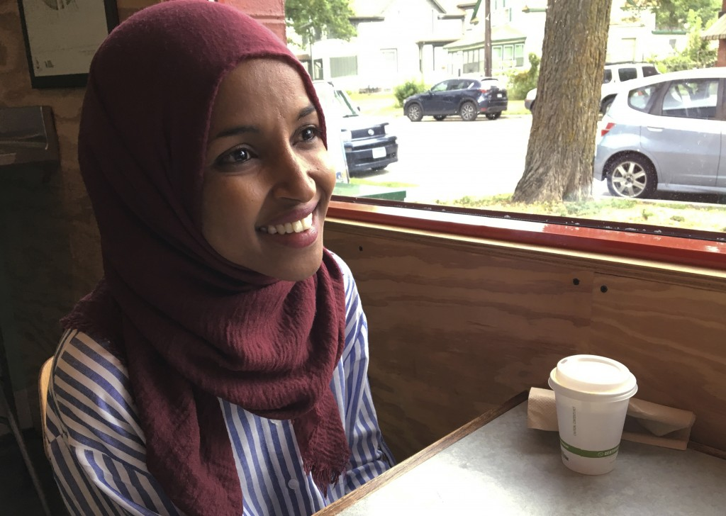 In this Aug. 16, 2018 photo, Democrat Ilhan Omar, the nation's first Somali-American legislator who won her party's congressional primary in the race,...