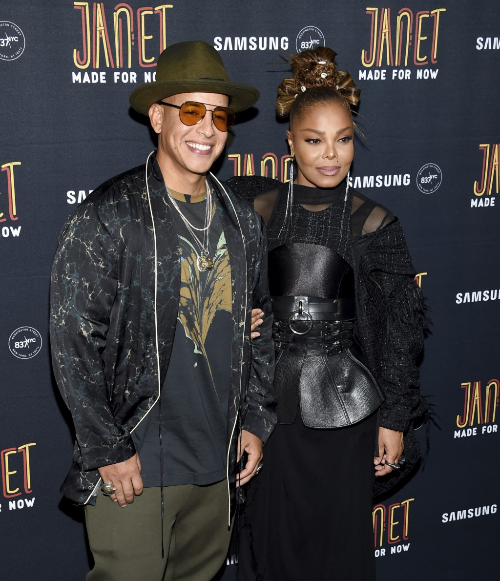 "Singers Daddy Yankee, left, and Janet Jackson attend their ""Made For Now"" single release party at Samsung on Friday, Aug. 17, 2018, in New York. (Phot..."
