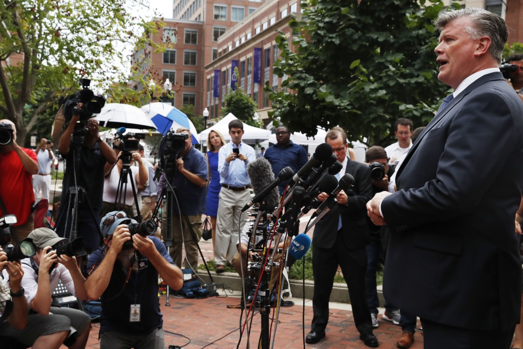 Kevin Downing, with the defense team for Paul Manafort, speaks briefly to the media on leaving federal court after jury deliberation finished for the ...