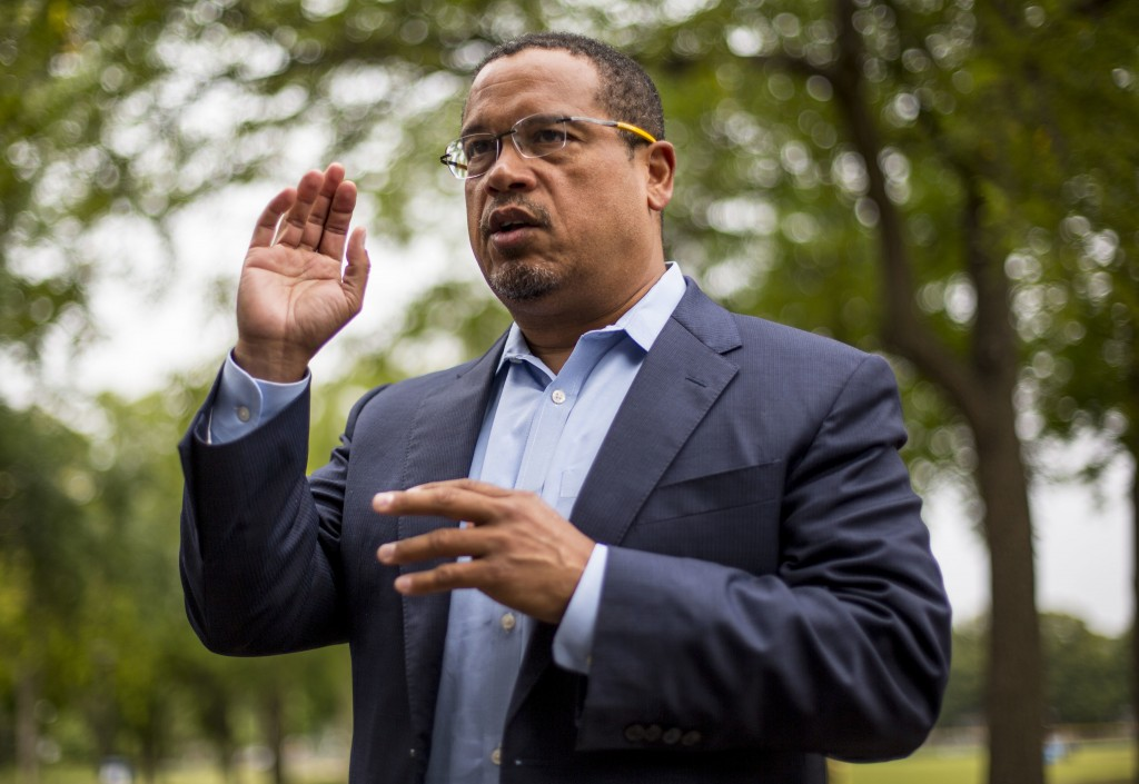 Rep. Keith Ellison addresses his campaign volunteers and supporters before sending them off on a door knocking campaign, Friday, Aug. 17, 2017 in Minn...