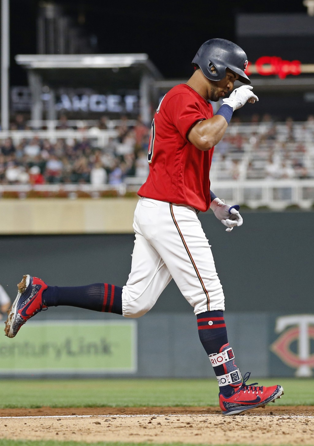 Minnesota Twins' Eddie Rosario jogs home on a solo home run off Detroit Tigers pitcher Matthew Boyd in the sixth inning of a baseball game Friday, Aug...