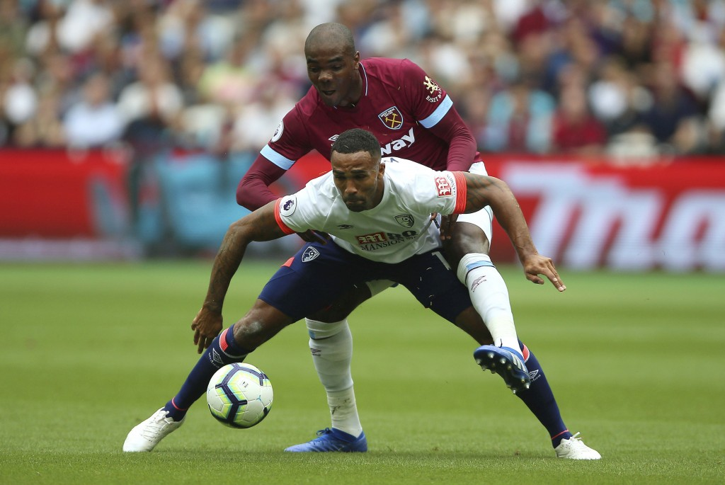 West Ham United's Angelo Ogbonna puts pressure on Bournemouth's Callum Wilson, front, during their English Premier League soccer match at London Stadi...