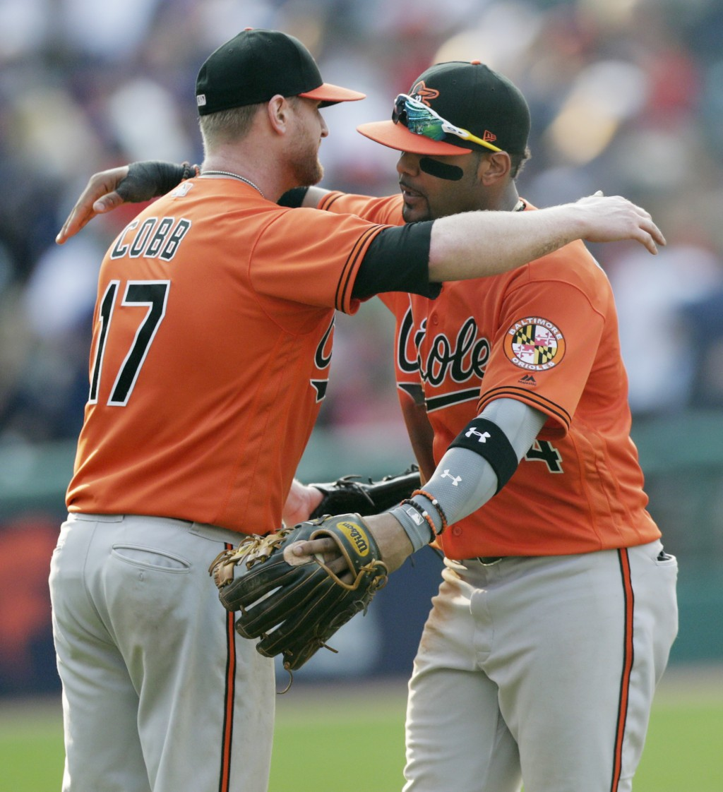 Baltimore Orioles starting pitcher Alex Cobb, left, and Jonathan Villar hug after the Orioles defeated the Cleveland Indians in a baseball game, Satur...