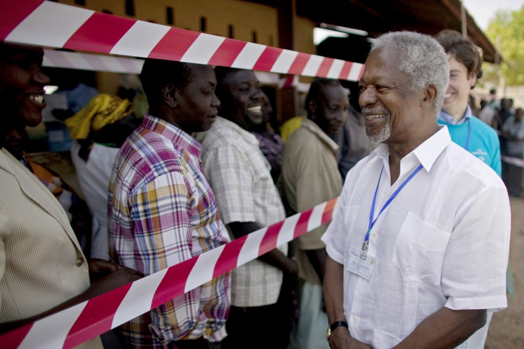 FILE - In this Sunday, Jan. 9, 2011 file photo, former United Nations Secretary-General Kofi Annan, visits a independence referendum polling center in...