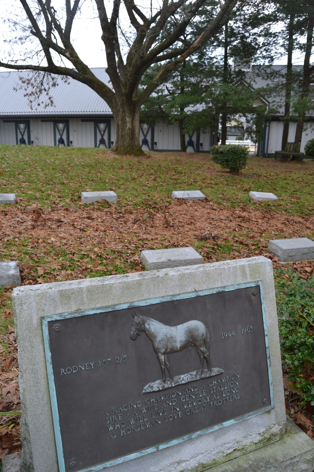 In this Nov. 18, 2017 photo, grave markers for champion horses are shown at a cemetery on the grounds of the Kentucky Horse Park in Lexington, Ky. (Ch...