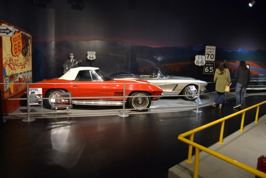 In this Nov. 19, 2017 photo an exhibit at the National Corvette Museum in Bowling Green, Ky., displays a Corvette Stingray owned by singer Roy Orbison...