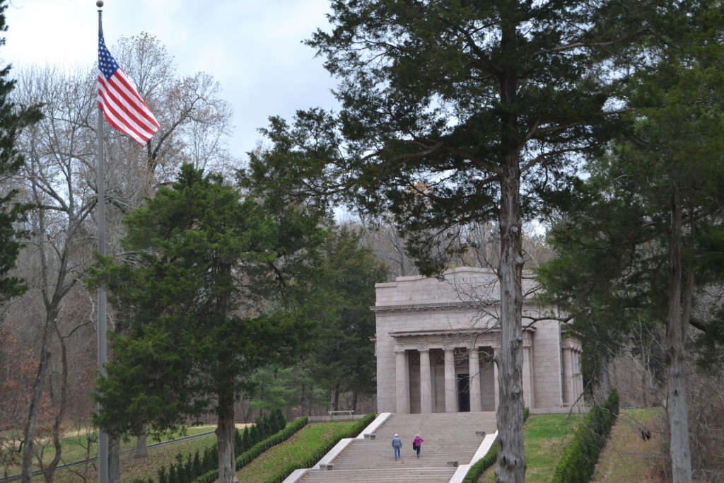 In this Nov. 18, 2017 photo visitors mount the stairs of the Memorial Building at the Abraham Lincoln Birthplace National Historical Park near Hodgenv...