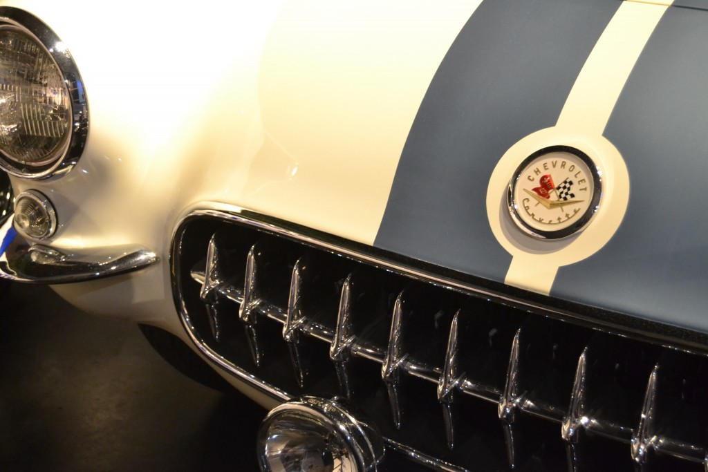 In this Nov. 19, 2017 photo the grille of a vintage Corvette is seen at the National Corvette Museum in Bowling Green, Ky. (Christopher Sullivan via A...