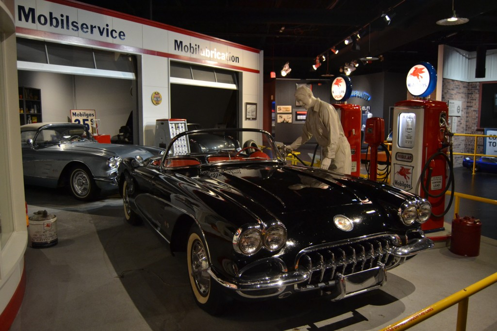 In this Nov. 19, 2017 photo a recreation of a mid-20th century service station is shown at the National Corvette Museum in Bowling Green, Ky. (Christo...