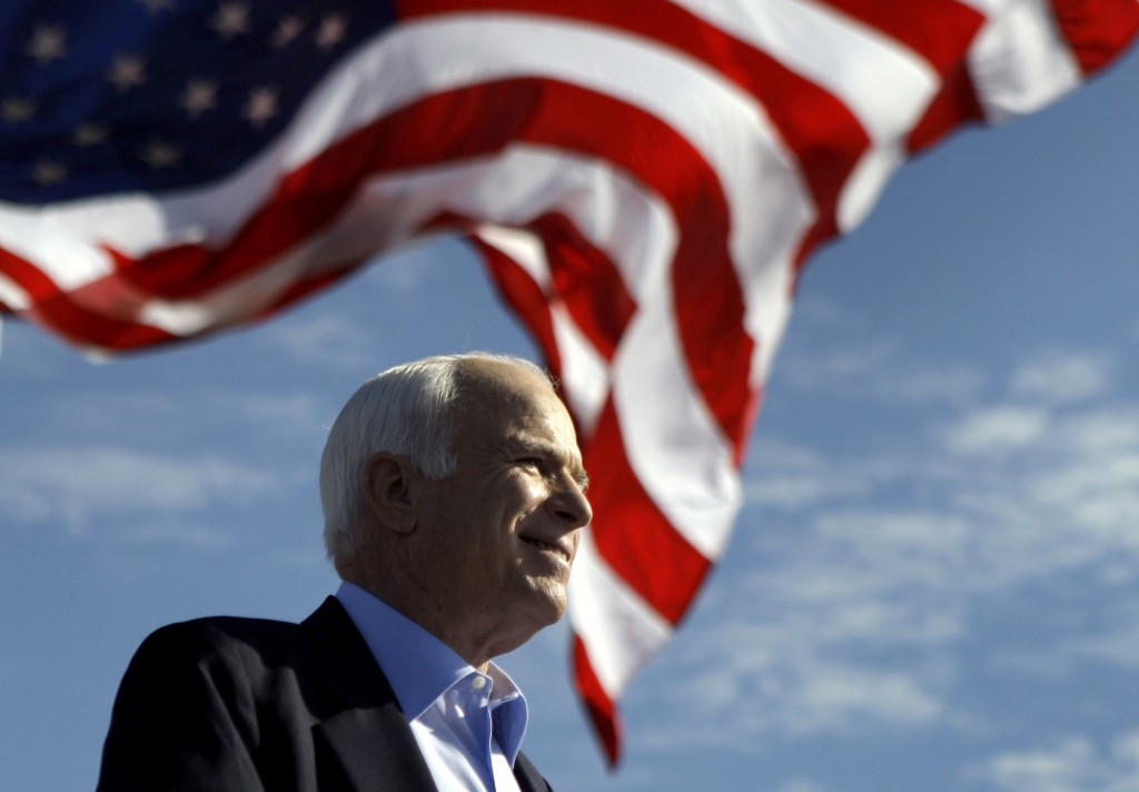 FILE - In this Nov. 3, 2008, file photo, Republican presidential candidate Sen. John McCain, R-Ariz., speaks at a rally in Tampa, Fla. Aide says senat