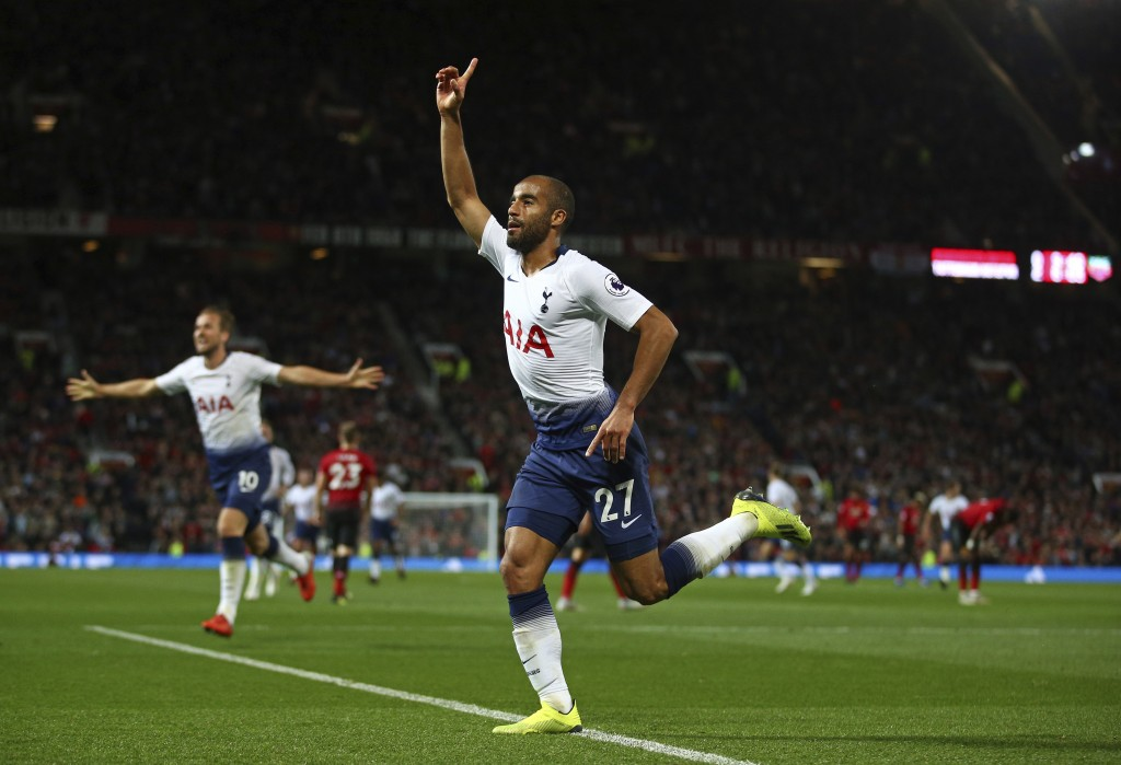 Tottenham Hotspur's Lucas Moura celebrates scoring his side's third goal during the English Premier League soccer match between Manchester United and